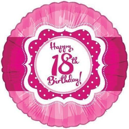 "Age 18 Happy Birthday Pink 18"" Foil Balloon"